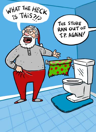 Santa Toilet Paper Funny Christmas Card Funny   Hope you have everything you need for a merry Christmas.