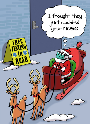 "Santa Testing Funny Christmas Card Funny Send a wish with this fun ""Santa COVID Testing"" Christmas card or Ecard to put a smile on someone's face this holiday season."
