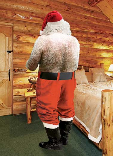 Santa's Back Funny Christmas Card