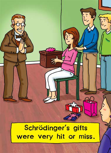 Schrodinger Funny Wishes Card Funny Schrodinger gives a present on a birthday. | Erwin Schrödinger cat cats present box quantum theory science gift gifts hit miss alive dead cartoon illustration Schrodinger particle feline flux certainty Austrian physics physicist wave equation general relativity cosmology theory though-experiment unified field theory matrix mechanics thermodynamics dielectrics ethics formula Rudolf Josef Vienna math mathmatics father dad  I hope that a Happy Birthday is a certainty!