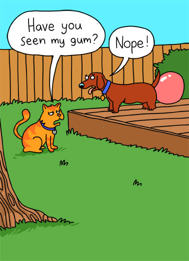 Seen Gum Funny Birthday Card Dogs An illustration of a cat asking a dog if he has seen him gum as the dog has a giant bubble of gum sticking out of his butt. | cartoon illustration cat dog gum bubblegum blow bubble lie lying chew yard cute funny seen blowout happy birthday Hope your Birthday's a blowout!