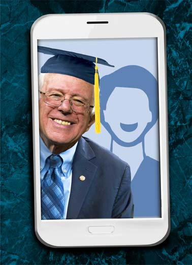 Selfie Bernie Funny Graduation Card Add Your Photo Bernie Sanders Graduation picture perfect cap school photo upload democrat republican president white house congress senate communist jew jewish america united states Hope your Graduation is Picture-Perfect!