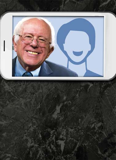 Funny Birthday Card  Bernie Selfie Bernard Sanders politics democrat republican USA political president candidate white house camera suit picture perfect, Hope your Birthday is Picture-Perfect