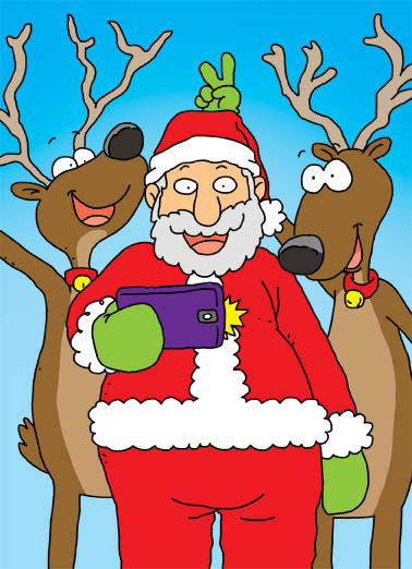 Funny Christmas Card  Santa takes a selfie with reindeer | Have your selfie merry little christmas phone reindeer cartoon illustration smile santa , Have your Selfie a Merry Little Christmas