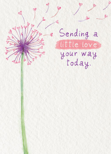 Sending Little Love Funny Flowers Card  Send someone a personalized greeting card just in time for their birthday! |Happy birthday sending love blow blowing make a wish watercolor friendship  Happy, happy birthday!