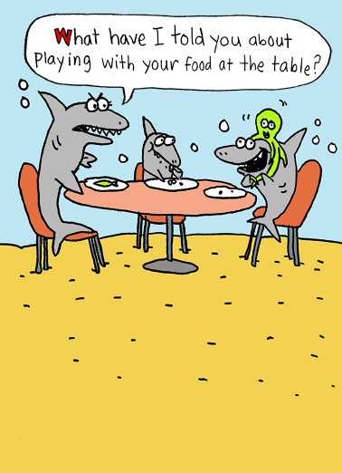 Sharks Mom Table Funny Mother's Day Card Cartoons Send this funny Mother's Day cartoon card to the moms in your life! Baby and Mommy Shark! It's Mother's Day, Play the day away!