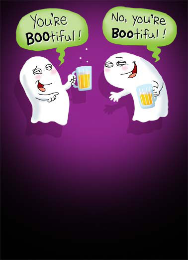 Funny Halloween Card  ghost dead beer mug drunk wasted cartoon illustration boo booo sheet-faced sheet scare halloween , It's Halloween! Time to get Sheet-Faced!