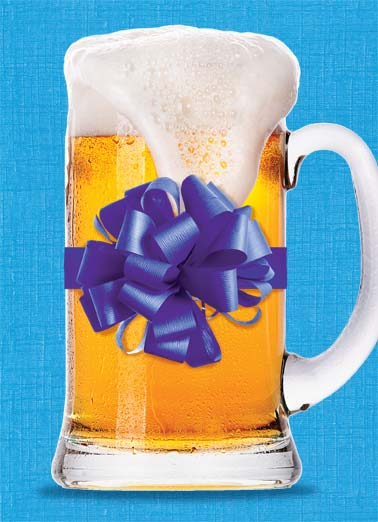 Shop For Funny Father's Day Card For Him A picture of a mug of beer with a ribbon on it. | dad father father's day ribbon foam beer gift present shop hard  And they say you're hard to shop for.