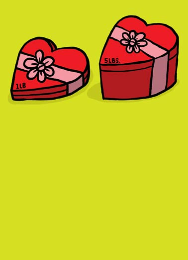 Size Matters Gal Funny Girlfriend Card  A small box of chocolates and a large box of chocolates on a Galentine's Day greeting card. | gal, galentine, val, valentine's, love, heart, friendship, girls, women, woman, girl, friends, friendship, candy, chocolate, gift, present, red, pink, box, ribbon,  On Galentine's Day, SIZE MATTERS!