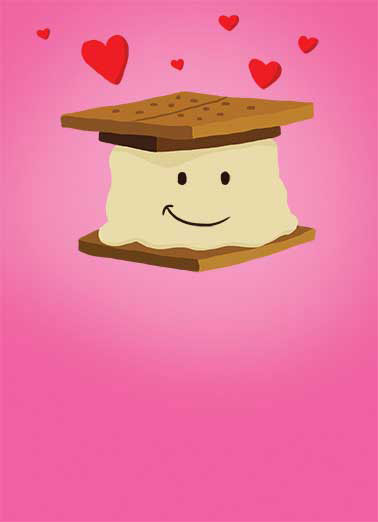 Funny Valentine's Day Card Love A cartoon smore loves you | smore valentine valentine's day love heart hearts pink red ,  Love you Smore each day!  Happy Valentine's Day
