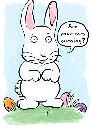 Some Bunny Funny Love Card Easter A cartoon bunny is asking if your ears are burning. | easter bunny cartoon think thinking egg eggs ears ear burning  'Cause some bunny's thinking of you!