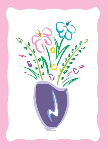 Special Person Bouquet Funny Sweet Card  Colorful Bouquet Design | wish, cute, floral, border, illustration, colors, artistic, stroke, lilies, arrangement, special, recipient, friendship, birthday, flowers, wishing  Wishing a very special person a very happy birthday!