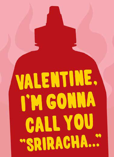 Sriracha Funny Valentine's Day Card For Anyone Sriracha bottle with flames in background on Valentine's Day Card | hot, spicy, spice, Mexican, fire, pepper, peppers, ghost, red, pink, yellow, flame, vd, valentine, vday,  'Cause you make me so dang hot!