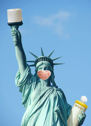 Statue Of Liberty Mask Funny  Card  Celebrate someone's special birthday by making them a personalized greeting card today! |Statue of Liberty face mask toilet paper wipes hand sanitizer quarantine coronavirus reopen America funny silly celebration   Hope you have everything in place for a happy birthday!