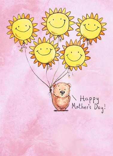 Sun Balloons  Funny Sweet  Mother's Day critter with smiley balloons  Wishing you sunshine & smiles today and always!