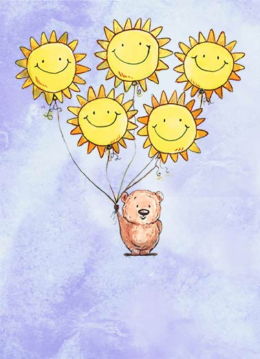 Funny Simply Cute Card  ,  Wishing you sunshine and smiles, today and always!