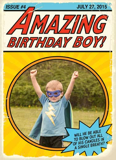 Super Birthday Funny Birthday Card Add Your Photo Put your little super guy on this adorable comic card from CardFool | Boy, Birthday, Superhero, Superman, Party, Theme  Wishing you a Super Birthday!