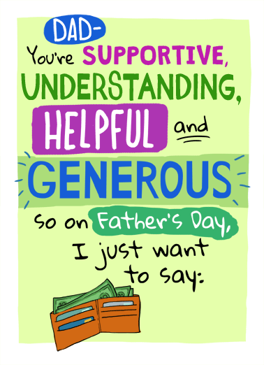 Supportive Dad Funny For Any Dad Card   Keep that shit up! | Happy Father's Day greeting card funny understanding helpful nice   Keep that shit up!
