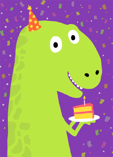 "T Rex Cake Funny Birthday Card  ""Just say Happy Birthday with this funny T Rex greeting card.  Personalize and send a happy birthday wish with same-day mail and free first-class postage.""  Wishing you a T-riffic birthday!"