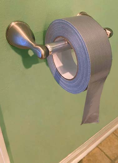 TP Fix Funny Work from Home Card  A picture of a roll of duct tape on a toilet paper holder. | toilet paper duck duct tape roll bathroom quarantine social distancing distance coronavirus covid corona virus infect happy birthday  Happy Birthday to a guy who know how to fix any problem.
