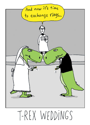 TRex Weddings Funny Cartoons   T-Rex, Tyrannosaurus, Rex, Wedding, Cartoon, Funny, Marriage, LOL, Priest, Rings, Alter, Dinosaur, Humor  Congratulations
