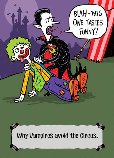"Tastes Funny Funny Halloween Card  Vampire takes a bite of a clown and says ""this tastes funny"" on a Halloween Greeting card 