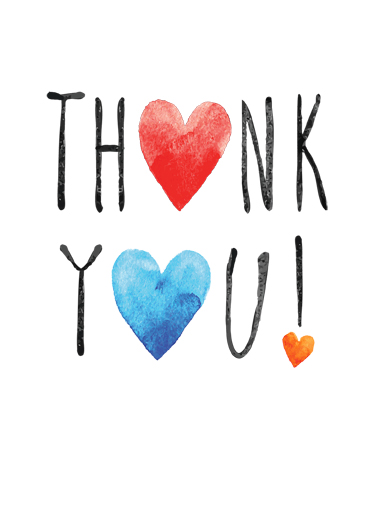Thank You Hearts Funny Lettering Card  Handcrafted Thank You note | thanks, ink, wash, edgy, hearts, painted, artistic, fun, lettering, general, free, freehand, stacked, text, painting, watercolor, pen, hearts, hearted, wish, craft, crafted, paper  Just a heartfelt thanks!