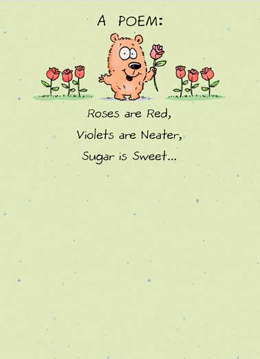 Funny Simply Cute Card  Cute, Thank You, Roses are red, violets are blue, poem, poetry, Thanks, Critter, flowers, fun, adorable, note, notes, sweet, sweet thank you note, character, cartoon,  But you're even sweeter! Thank you.