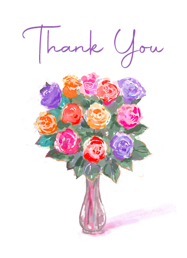 "Thank You Rose Bouquet Funny Uplifting Cards Card Thank You Send a wish with this sweet ""Rose Bouquet"" Thank You card or Ecard to put a smile on someone's face today."