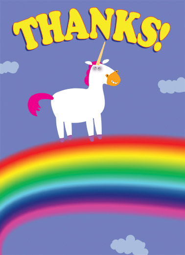 Thanks Unicorn Funny Business Greeting Card Thank You