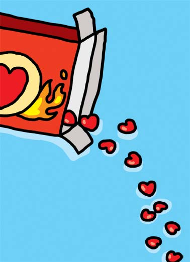 Funny Valentine's Day Card Love I've got the hots for you said with candy | hot hots candy illustration cartoon fire red valentine valentine's day heart hearts , It's valentine's day and I've got the hots for you