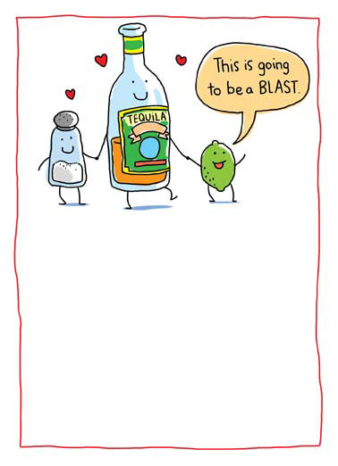 Funny Valentine's Day   salt vodka and lime getting together for valentine's day | cartoon illustration tequila lime salt valentine valentine's day threesome blast fun heart hearts ,  There's nothing like a threesome on valentine's day