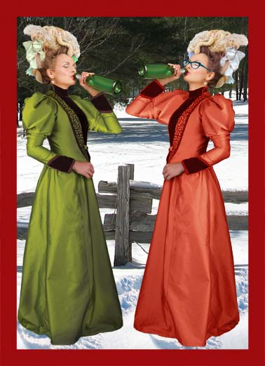 To Heck With Cocoa and Cookies Funny For Her  Christmas Two women drinking together outside. | drink drinking wine beer champagne fence wood woods outside fancy formal dress glasses tree trees heck cake ice cream Christmas happy alcohol sip bottle earring bow victorian snow winter cocoa cookies gift present giving Santa   To heck with cocoa and cookies!