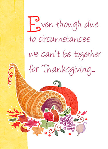 "Together for Thanksgiving Funny Thanksgiving Card  Send a wish with this sweet ""If We Can't Be Together"" Thanksgiving card or Ecard to put a smile on someone's face today."