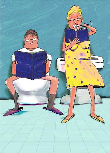 Toilet Friends Funny Cartoons Card For Couple By Each Other's Side | heart, hearts, love, adorable, sweet, rose, flowers, photo, image, romantic, love, kisses, kiss, boyfriend, girlfriend, husband, wife, spouse, significant other, lover, bae, red, happy, picture, expression, greeting card, sweet, loving, for her, for him, goofy, hilarious, witty, print, folded card, mail, recipient, , special, wonderful, humor, warm, message, fresh, cute, friend, son, to, for, family, fun, real cards, printed, whimsical, heart-warming, heart warming, sentimental, from the heart, wish, wishes, note, greetings, anniversary, happy anniversary, cartoon, comic, comic strip, toilet, toothbrush, toilet humor, potty, potty humor, brushing teeth, poop, poo, crap, bathroom, washroom, bathroom humor, couple bathroom, couple toilet, newspaper, magazine, reading,   Here' to another year by each other's side.