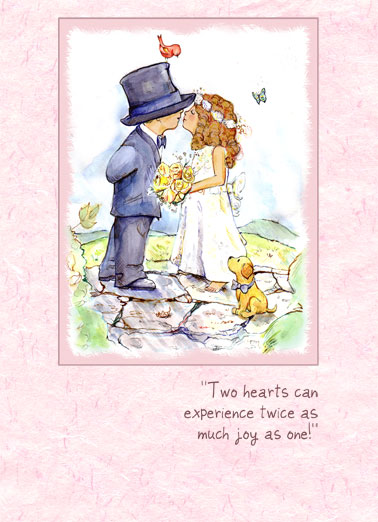 Funny Simply Cute Card  Kids, Wedding, flowers, bouquet, watercolor, sweet, special, traditional, marriage, floral, cute, cartoon, sweet, children, illustration, bride, groom, precious moments,  May your life be filled with twice the joy, twice the happiness, twice the love! Congratulations