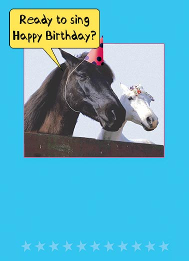 "Two Horses Funny Birthday Card Partying   ""I can't... I'm a little horse."""