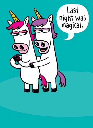 Unicorn (Love) Funny Love  For Any Time Two unicorns hugging on a greeting card | There's nothing I like more than being HORNY with you.