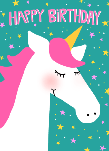 Unicorn Birthday Funny One from the Heart Card    Wishing a wonderful gal a magical birthday!