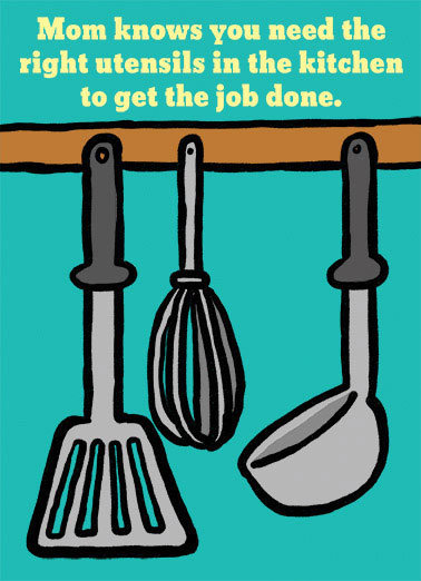 Utensils Funny Mother's Day  From Friend visual of kitchen tools, wine opener on inside