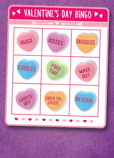 Valentine Bingo Funny Valentine's Day Card  Valentine, let's play together! | valentine Valentine's day love romantic kiss hug make out bingo   Let's play together!