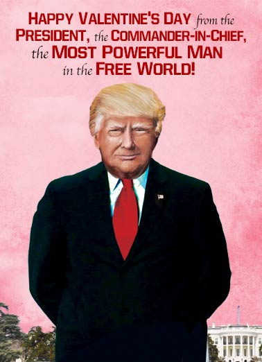 Valentine Commander  Funny Political Card Valentine's Day The President and Commander in Chief |Valentine, donald, trump, funny, political, joke, portrait  If this doesn't make you queasy, a whole box of chocolates shouldn't bother you at all! Happy Valentine's Day