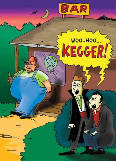 Vampire Kegger Funny Cartoons  Halloween Rednecks make the best vampire meals | keg, drink, joke, funny, halloween, vampires, bar, lol, cartoon, comic