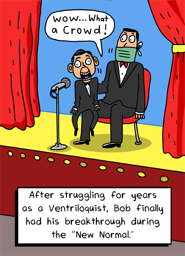 "Ventriloquist Funny Quarantine Card  Send a wish with this funny ""Ventriloquist Dummy"" Birthday cartoon card or Ecard to put a smile on someone's face today... and we'll include Free first-class postage on all printed cards and a free printout link on all Ecards that arrive instantly.  Happy Birthday"