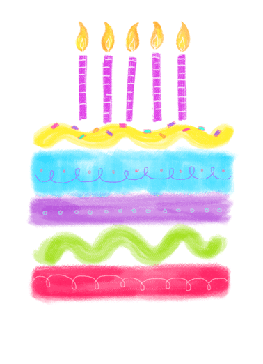 Watercolor Birthday Cake Funny One from the Heart Card  Send your friend a sweet birthday greeting card for their birthday! | watercolor happy happiest cake friends friendship lovely sweetness pretty  Happiest birthday wishes!