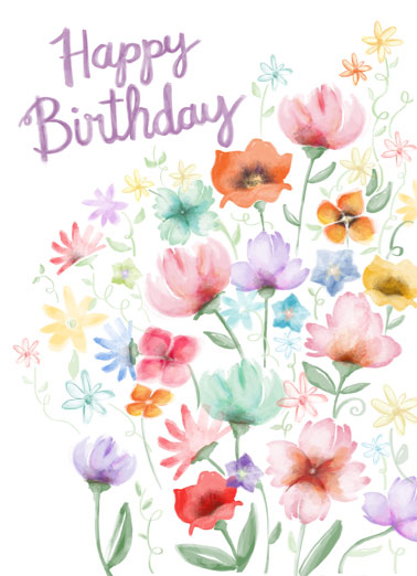 Watercolor Garden Bday Funny Flowers Card  Send someone a personalized greeting card just in time for their birthday! |Wishing you happiness joy endless love close friend friendship flowers watercolor  Wishing you moments of joy, days of happiness and a lifetime of love!