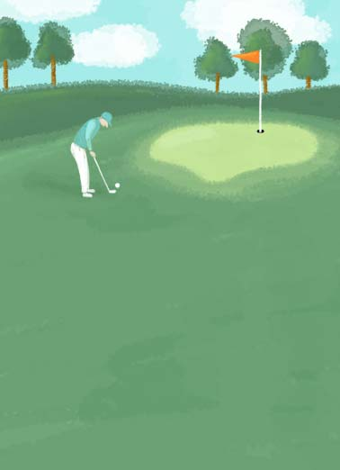 Watercolor Golf Father's Day Funny Father's Day  For Dad A watercolor image of a father playing golf. | water color golf course putt green father father's day dad wish wishing happy flag club shank hook ball  Wishing you a very happy Father's day.