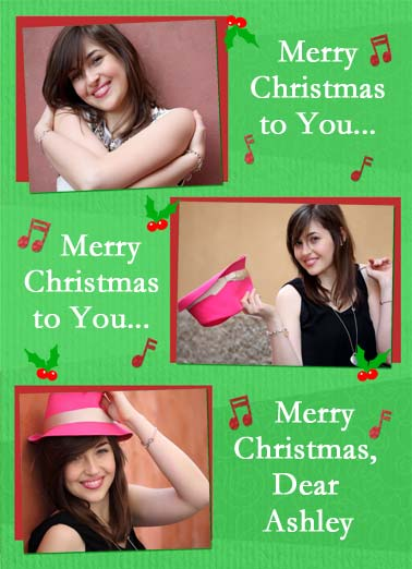 We Totally Love You XMAS Funny Christmas  Add Your Photo Merry Christmas to you photo upload card. | merry Christmas photo upload song sing green red holly we love you We totally love you!