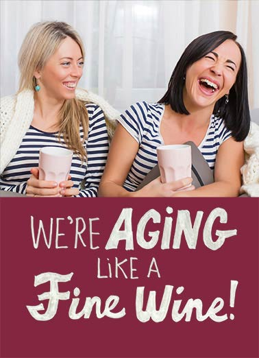 We're Like a Fine Wine Funny 5x7 greeting Card Funny   More like... We're aging, let's GET some fine wine!  Happy Birthday