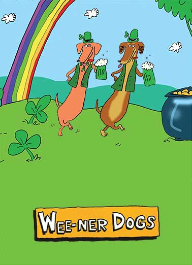 Weener Dogs Funny St. Patrick's Day Card Cartoons